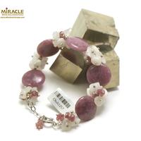 """bracelet création Lépidolite, perle """"palet rond/perle pierre de lune"""""""