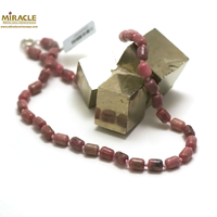 "collier rhodonite, perle ""tube"""