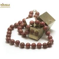 """collier rhodonite, perle """"ronde 10 mm"""""""