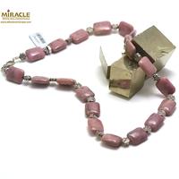 """collier rhodonite, perle """"palet rectangle-perle argentée fleur"""""""