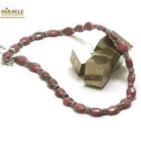 "collier rhodonite, perle ""palet ovale-perle argentée tube"""