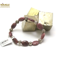 "bracelet rhodonite, perle ""palet oval-perle argentée fleur"""