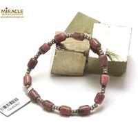 """bracelet rhodonite, perle """"tube-perle argentée tube"""""""