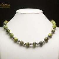 "collier chrysoprase, perle ""ronde 12 mm-perle argentée"""