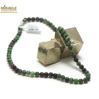 collier zoïsite, perle ronde 6 mm