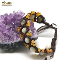 bracelet jade et cornaline sur cordon