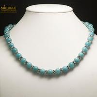 """collier en pierre naturelle d'amazonite, perle """"ronde 10 mm /perle argentée"""""""