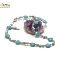 """collier en pierre naturelle d'amazonite, perle """"coeur""""/perle argentée"""