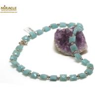 """collier amazonite,  perle """"carrée""""/perle argentée"""