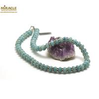 """collier amazonite, perle """"rondelle""""/perle argentée"""