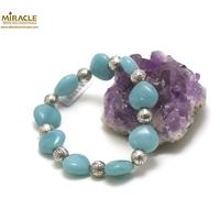 "bracelet amazonite, perle ""coeur""/perle argentée"