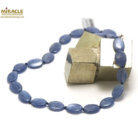 "collier cyanite, perle ""palet oval"""