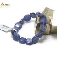 """bracelet cyanite, perle """" palet carrée"""""""
