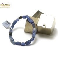 "bracelet cyanite, perle ""galet rectangle"""