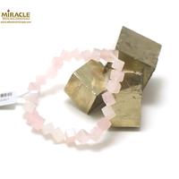 "bracelet quartz rose ,perle ""cube diagonal"""