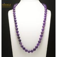 """collier long améthyste, perle """"ronde 12 mm"""""""