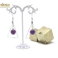 """boucle d'oreille améthyste, perle """"ronde facettée 12 mm/support triangle"""""""