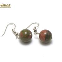 """boucle d'oreille unakite, perle """"ronde 12 mm"""""""