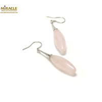 "boucle d'oreille quartz rose, ""long olive-support lustre"""