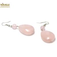 """boucle d'oreille quartz rose, """"palet goutte d'eau-ronde 8 mm"""""""