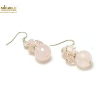 """boucle d'oreille création quartz rose, """"grappe de raisin-ronde facettée 12 mm"""""""