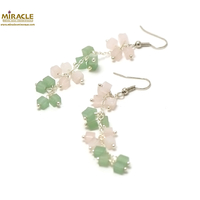 "boucle d'oreille quartz rose / aventurine, ""grappe de raisin long"""