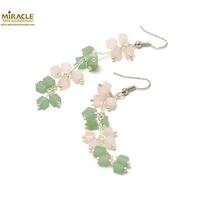 """boucle d'oreille quartz rose / aventurine, """"grappe de raisin long"""""""