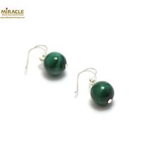 """boucle d'oreille malachite, perle """"ronde 10 mm"""""""