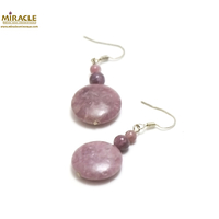 """boucle d'oreille lépidolite, """"palet rond-perle ronde 6/4 mm"""""""