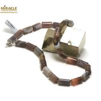 "collier agate de botwana, perle ""tube"""