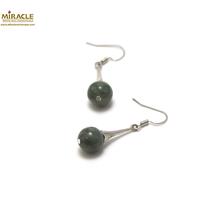 "boucle d'oreille jade de canada , perle ""ronde 10 mm-Lustre"""
