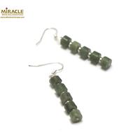 """boucle d'oreille jade néphrite de Canada, perle""""rondelle-perle argentée"""""""