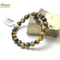 """bracelet oeil de tigre doré, perle """"ronde 8 mm"""""""