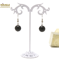 "boucle d'oreille onyx , "" perle ronde 12 mm """