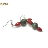 """boucle d'oreille zoïsite - corail, perle """"ronde 10 mm"""""""