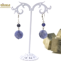 "boucle d'oreille sodalite, ""palet rond-ronde 6 mm"""