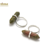 "Bague en pierre naturelle d'Unakite ""double pointe"""