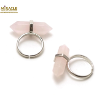 "Bague en pierre naturelle de quartz rose ""double pointe"""