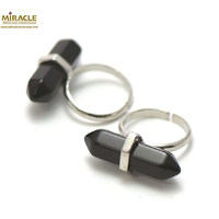 "Bague en pierre naturelle d'onyx ""double pointe"""