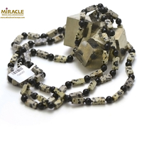 "Collier long/sautoir en pierre naturelle obsidienne neige/onyx ""rectangle 12x5x5 mm"", 120cm"