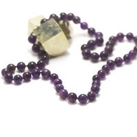 """collier long améthyste, perle """"ronde 10 mm"""""""