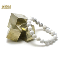"bracelet howlite, perle ""ronde 8 mm"""