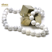 "Collier howlite, ""perle ronde 12 mm"""