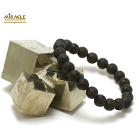 """bracelet pierre de lave (roche volcanique), perle """"ronde 8 mm"""""""