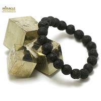 """bracelet pierre de lave (roche volcanique), perle """"ronde 10 mm"""""""