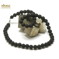 """Collier pierre de lave (roche volcanique), """"perle ronde 8 mm"""""""