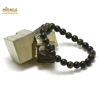 "Bracelet obsidienne doré, perle ""ronde 8 mm"""