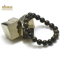 "Bracelet obsidienne doré, perle ""ronde 10 mm"""