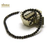 "Collier obsidienne doré, ""perle ronde 6 mm"""