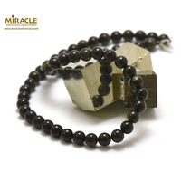 "Collier obsidienne doré, ""perle ronde 8 mm"""